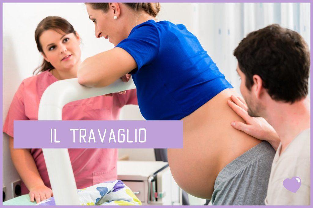 Il travaglio di parto: donna incinta con marito e ostetrica